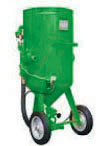 Patented modular sandblasting machines with double pneumatic remote control and abrasive dosing valve.