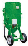 Patented modular sandblasting machines with double electric remote control and abrasive dosing valve.