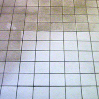 Remove buildup from tile flooring - after